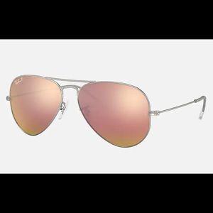 Pink Mirrored Ray-Ban Aviator Sunglasses
